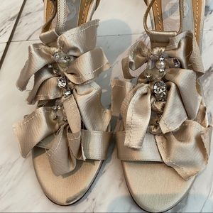 Lanvin Satin Embellished Peep-Toe